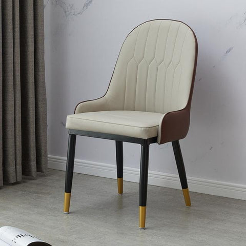Chaise Scandinave </br> Cuir Marron Moderne