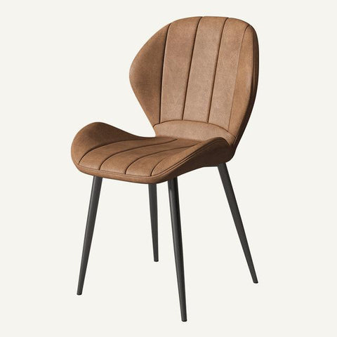 Chaise Scandinave </br> Cuir Marron Matelassée LUXURY
