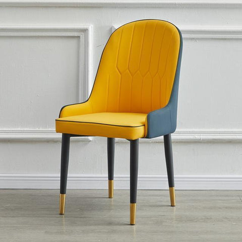 Chaise Scandinave </br> Cuir Orange Moderne