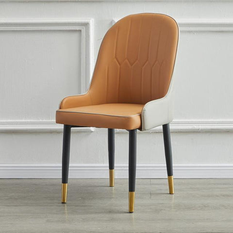 Chaise Scandinave </br> Cuir Taupe Moderne