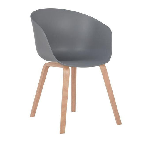 Chaise Scandinave </br> Grise avec Accoudoirs WELLING