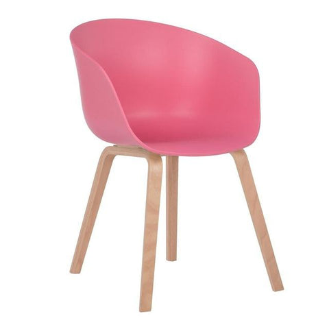 Chaise Scandinave </br> Rose avec Accoudoirs WELLING