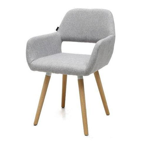 Chaise Scandinave </br> Tissu Gris Clair HOLLOW