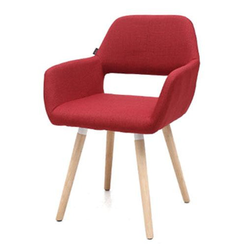Chaise Scandinave </br> Tissu Rouge HOLLOW