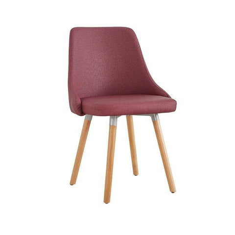 Chaise Scandinave </br> Tissu Rouge Moderne