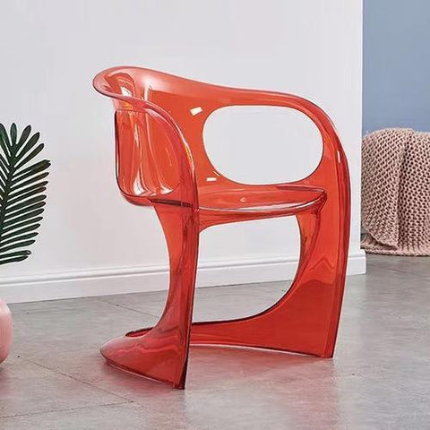 Chaise Scandinave </br> Transparente Rouge Accoudoirs