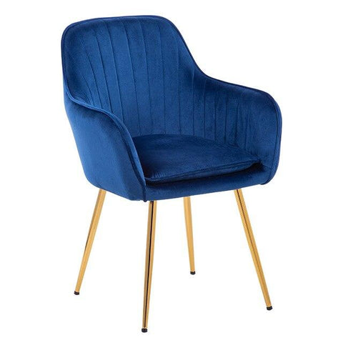 Chaise Scandinave </br> Velours Accoudoirs TON