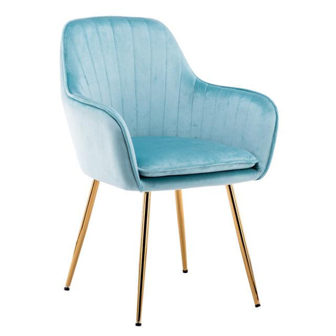 Chaise Scandinave </br> Velours Bleu Accoudoirs TON