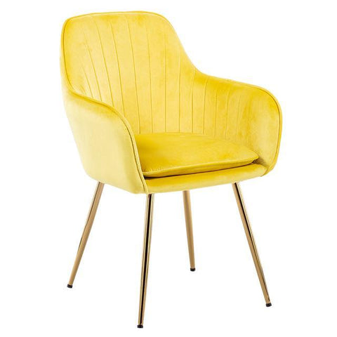 Chaise Scandinave </br> Velours Jaune Accoudoirs TON