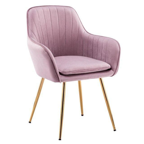 Chaise Scandinave </br> Velours Rose Accoudoirs TON
