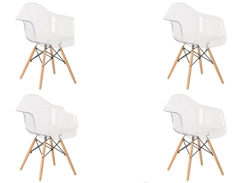 Lot de 4 Chaises Scandinaves </br> avec Accoudoirs Transparente EAMES