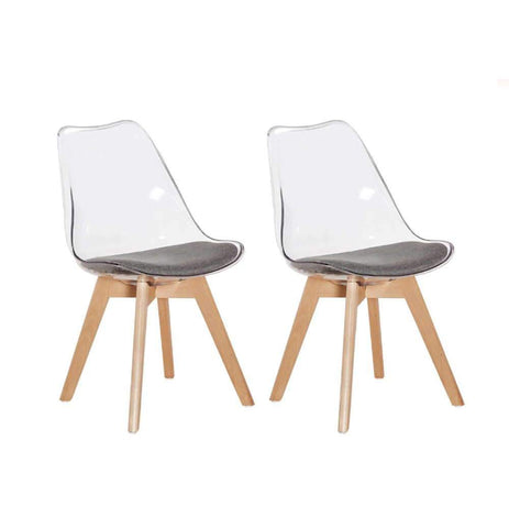 Lot de 2 Chaises </br> Scandinaves Transparente TULIPE