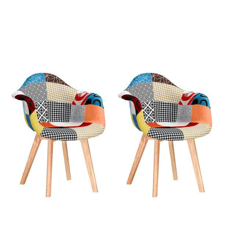 Chaise Scandinave </br> Tissu Patchwork (Lot de 2)