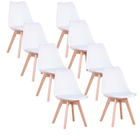 Lot de 8 Chaises </br> Blanches Scandinaves TULIPE
