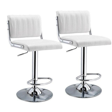 Tabouret de Bar Scandinave </br> Réglable Blanc WARNER (Lot de 2)