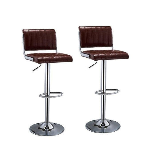 Tabouret de Bar Scandinave </br> Réglable Marron WARNER (Lot de 2)