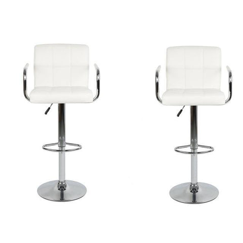 Tabouret de Bar Scandinave </br> Réglable Blanc Matelassé STILL (Lot de 2)