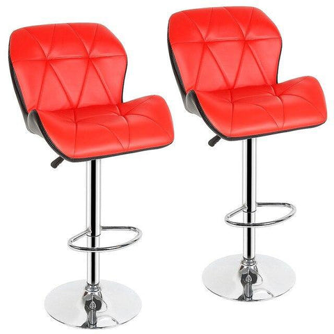 Tabouret de Bar Scandinave </br> Réglable Rouge LUXURY (Lot de 2)