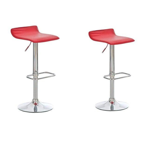 Tabouret de Bar Scandinave </br> Réglable Rouge PIVO (Lot de 2)