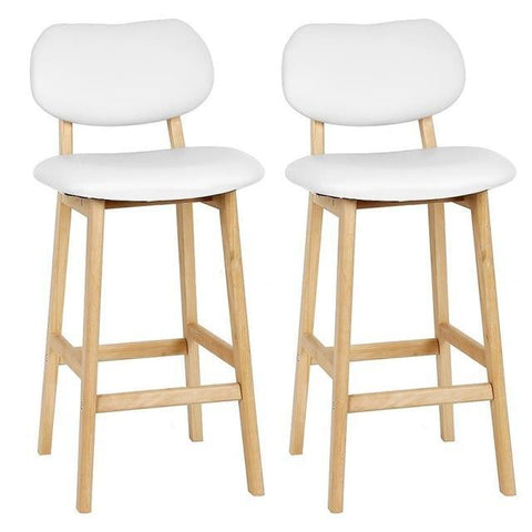 Tabouret de Bar Scandinave <br/> Blanc HETTER (Lot de 2)