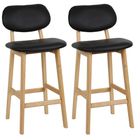 Tabouret de Bar Scandinave <br/> Noir HETTER (Lot de 2)