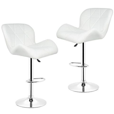 Tabouret de Bar Scandinave </br> Réglable Blanc LUXURY (Lot de 2)