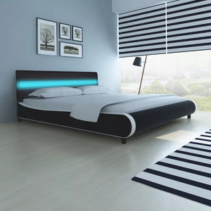 VidaXL 180 Cm Modern Synthetic Leather Bed Bed Frame Soft Beds With Headboard LED Strip Memory Mattress Home Bedroom Furniture