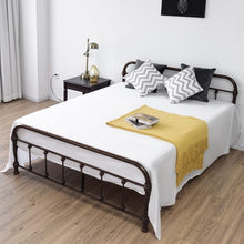 Load image into Gallery viewer, Giantex Queen Size Metal Steel Bed Frame with Stable Metal Slats Headboard Footboard Black Steel Bedroom Furniture HW57398