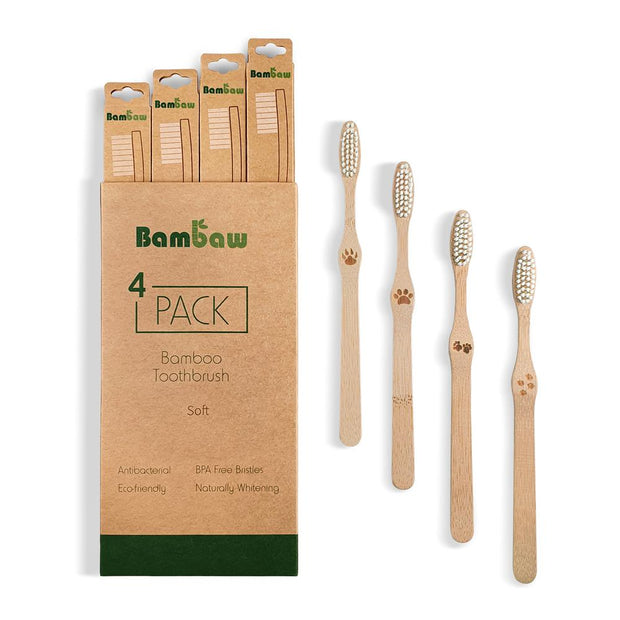 Bamboo Toothbrushes (Pack of 4)