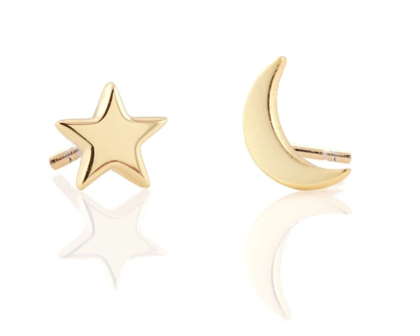 KN Star and Moon Stud Earrings