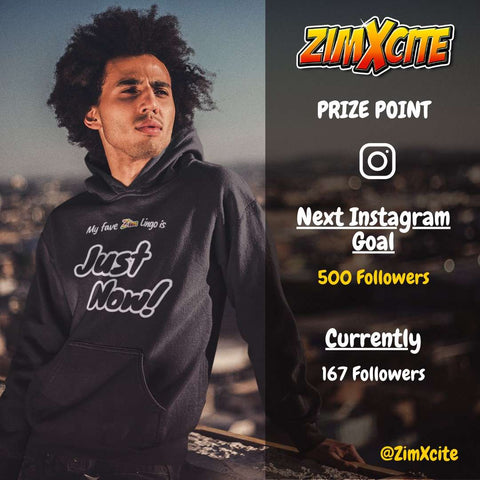 Afro man wearing a ZimXcite Zimbabwean Hoodie with Just Now Design