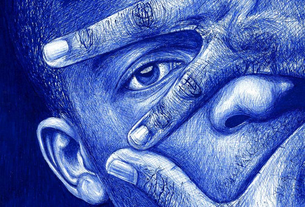 Ball pen drawing by Derwin Graphics - Man's Face with Hands Up - ZimXcite