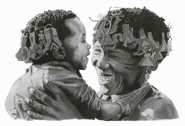 Lemington Muzhingi - Tribal African Father and Son - Pencil Drawing