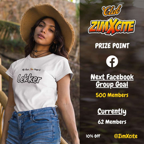 Woman wearing a Club ZimXcite Zimbwean T-Shirt from ZimXcite with Lekker design and a hat