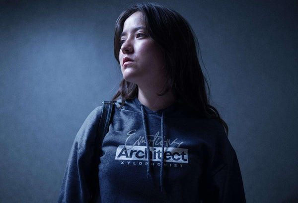 Woman wearing a Xylophonist Hoodie for Musicians - Emotions Architect