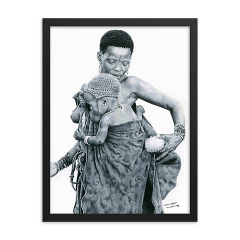 Lemington Muzhingi - Mother with Gaka (Cucumber) - Framed