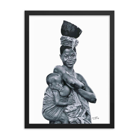 Lemington Muzhingi - Breast Feeding - Framed