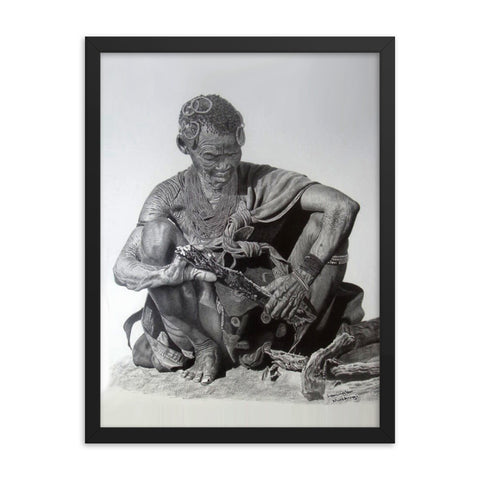 Lemington Muzhingi - Kalahari Woman Preparing Fire Wood - Framed