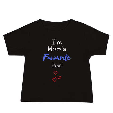 Mom's Fave on Baby Short Sleeve Tee - Black