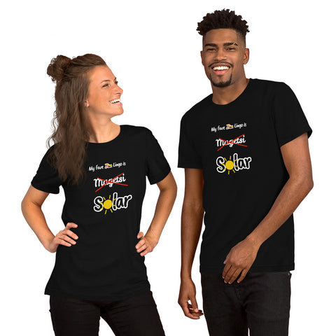 """Solar"" on Short-Sleeve Unisex T-Shirt in BLACK"