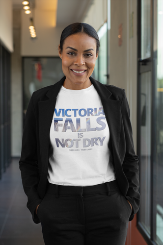 """Vic Falls is Not Dry"" on Short-Sleeve Unisex T-Shirt in COLOURS"