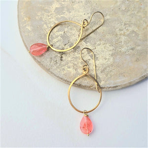 Strawberry Quartz Hoops (Sm) #1129