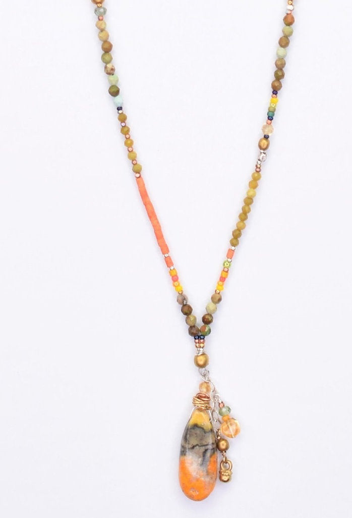 Mookaite and Coral Necklace 40-5240