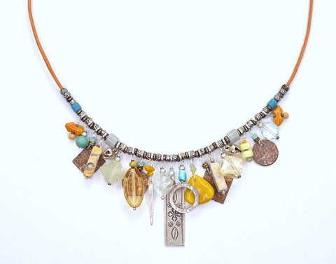 Leather and Vintage Glass Charm Necklace 40-5981