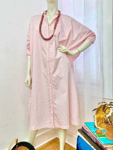 Oversized shirt dress with Pink Stripes