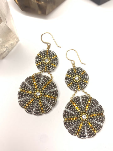 Miguel Ases Miyuki Circle Earrings