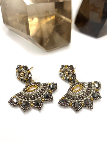 Miguel Ases Pyrite Miyuki Fan Earrings