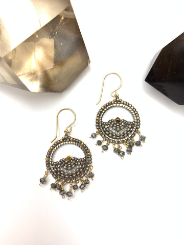 Miguel Ases Pyrite Miyuki Circle Earrings