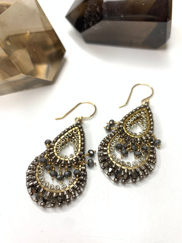 Miguel Ases Pyrite and Miyuki Teardrop Earrings