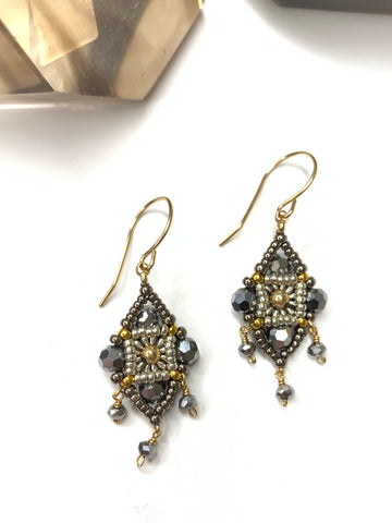 Miguel Ases Small Miyuki Pyrite Earrings